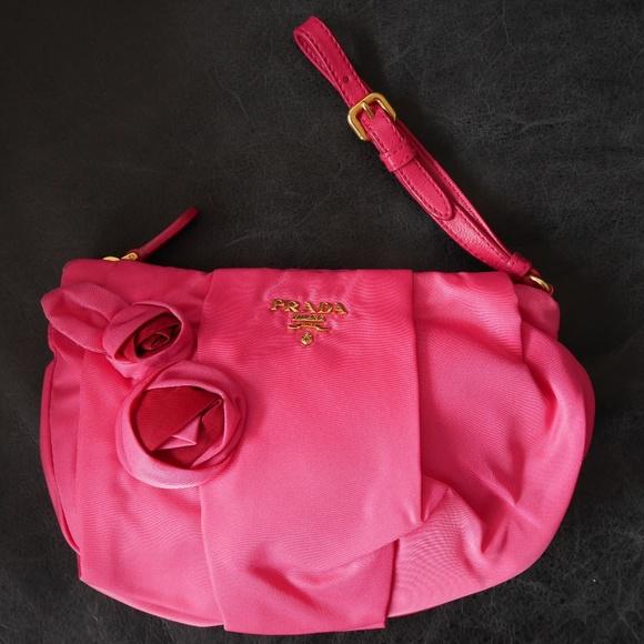 Prada Bags   Nbw Pink Nylon Clutch Wflowers   Poshmark 56db1256a7